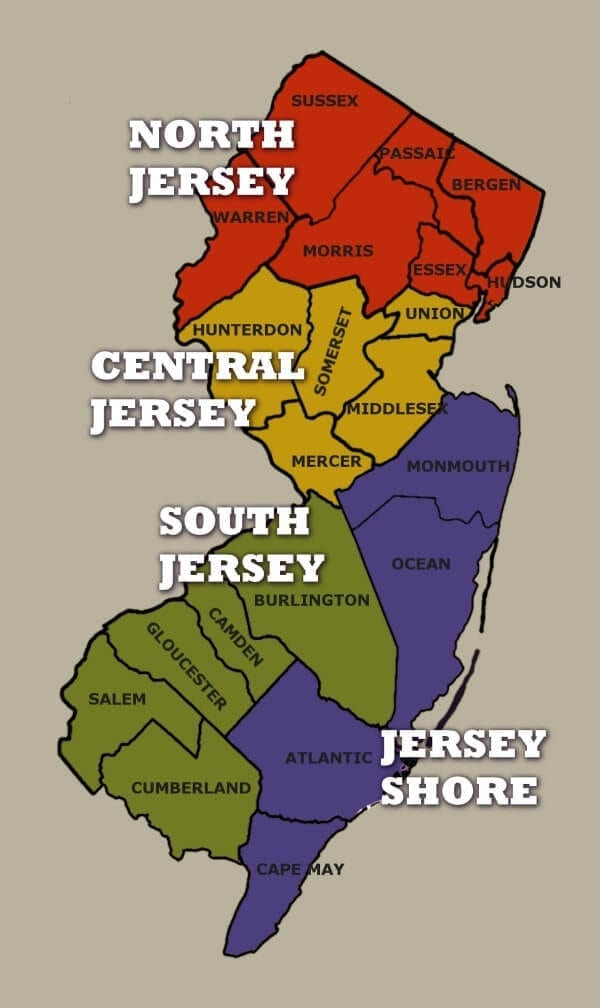 NJ Regions Map © 2012 by BestofNJ.com