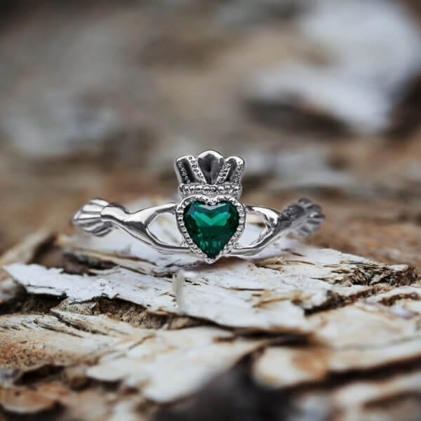 Claddagh ring with emerald