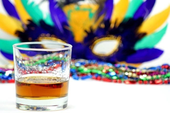 Drink with Mardis Gras Mask