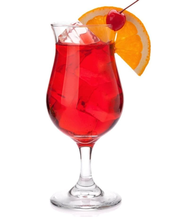 Red tropical cocktail. Isolated on white background
