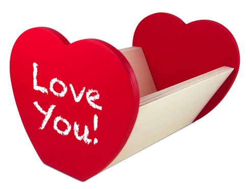 """letterbox with hearts on both ends and says """"love you!"""""""