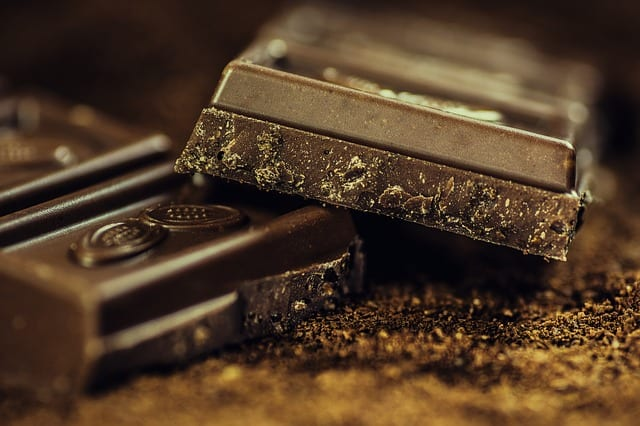 chocolate bar broken in half