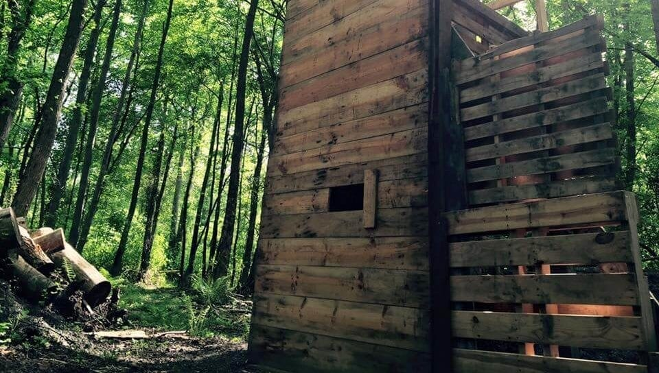 wooden tower for paintball course