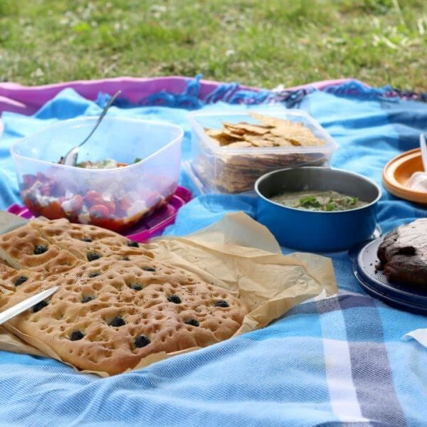 Various picnic food: vegetable and feta salad, baba ghanoush, gluten-free crackers, olive bread and date chocolate cake. Selective focus.
