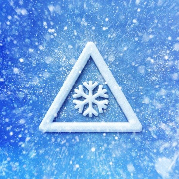 Winter snow warning symbol, Driving winter background