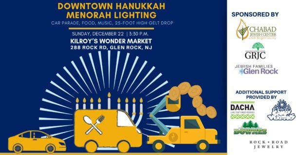 graphic with car, food truck, and cherry-picker in front of large menorah