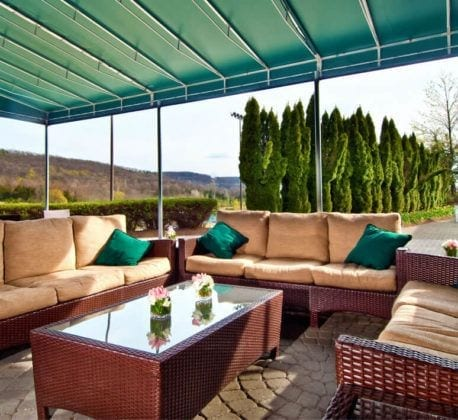 Patio seating at Bear Den Grille