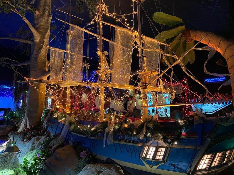 large colorful replica underwater shipwreck