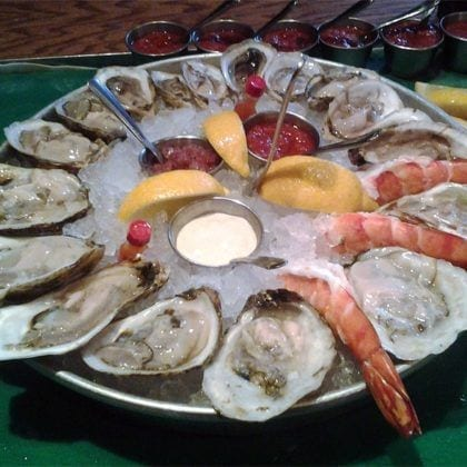 Oyster platter from Fin Raw Bar & Kitchen in Montclair, Seafood Restaurant