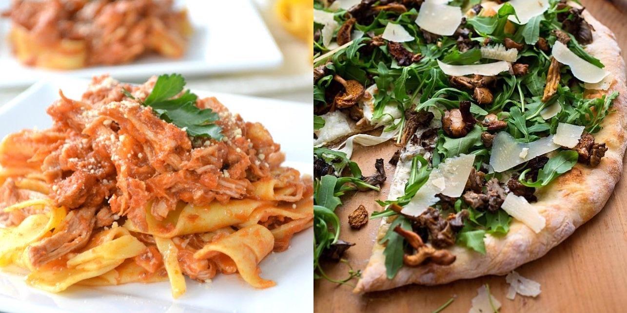 Pasta and Pizza Dishes from La Mondina Italian Restaurant in Brielle