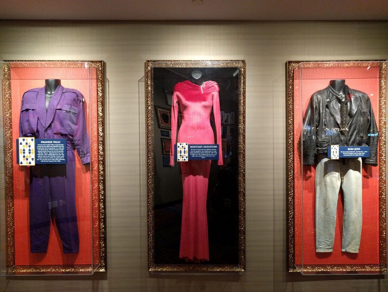 Outfits worn by Frankie Valli, Whitney Houston, and Jon Bon Jovi