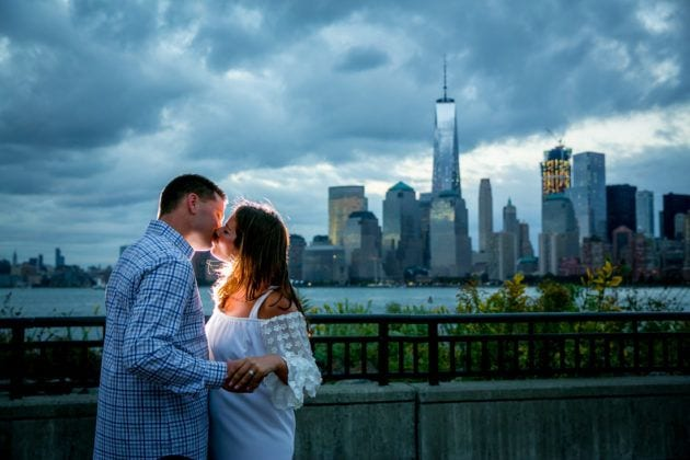 Charles Anthony Studio engagement photo city skyline background