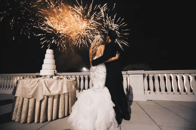 Dean Michaels Studio Bride and Groom watching fireworks