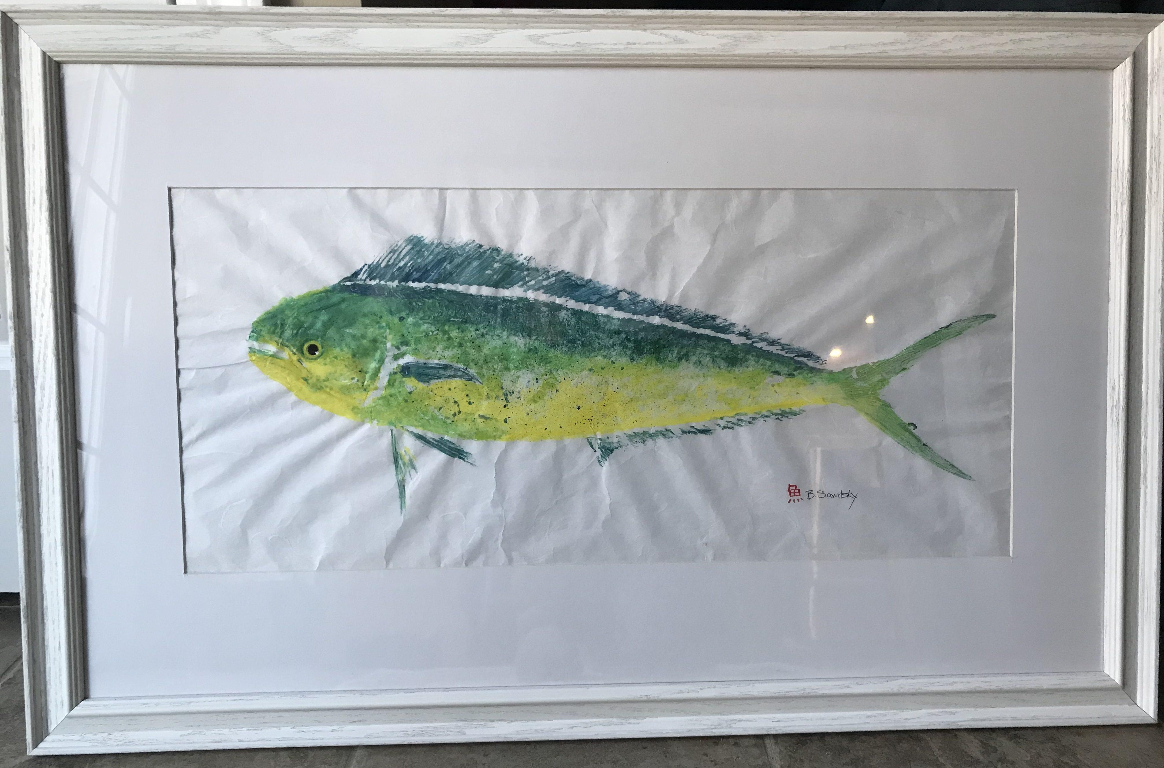 Gyotaku Painting by Bridget Sawitsky