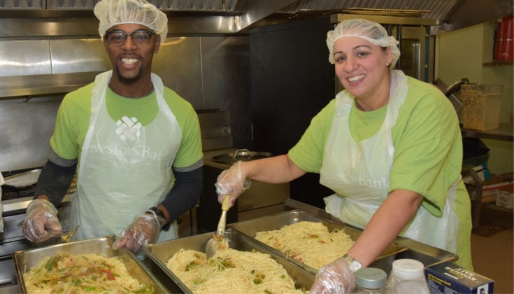volunteers in soup kitchen