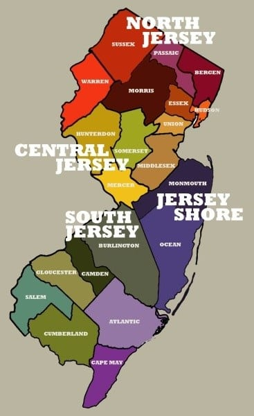 Regional Map of NJ for Central Jersey New Year's Eve Events